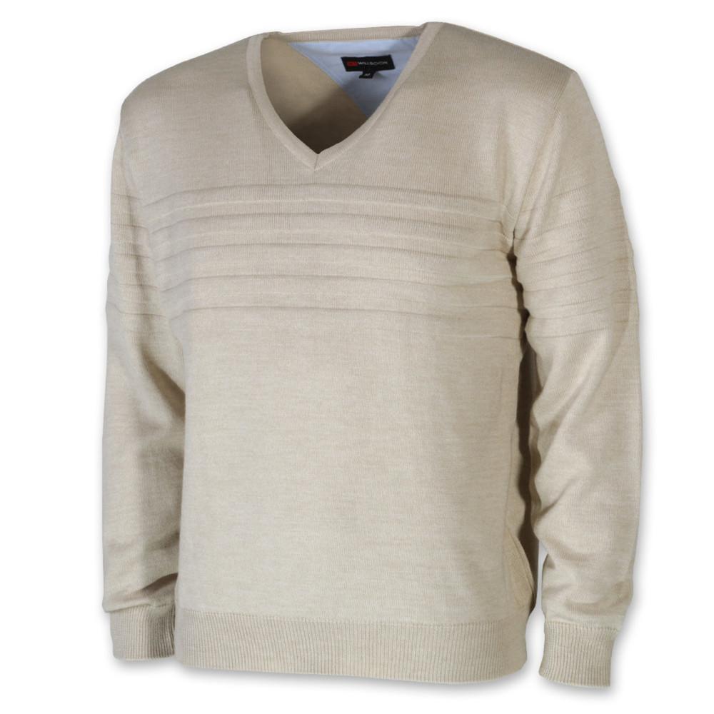 e4470c271a Férfi merinói gyapjú pulóver bézs színben 10266 - willsoor.hu