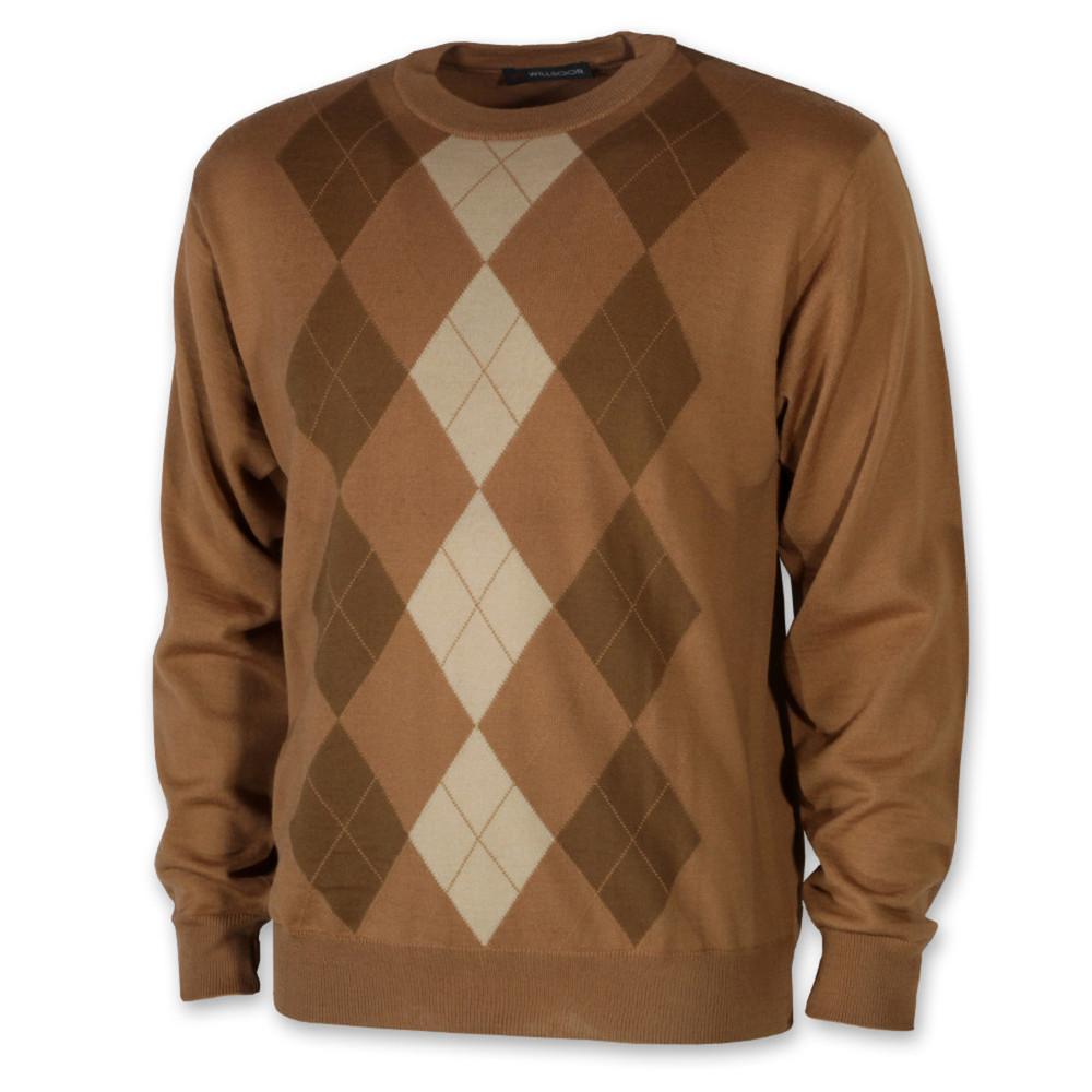 f377cf947a Kockás férfi pulóver barna színben 10275 - willsoor.hu