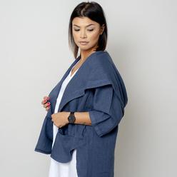 Fehér színű, túlméretezett női vászon dzseki 10779